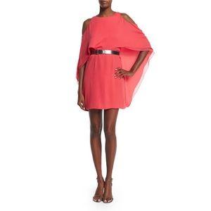 Halston Heritage Cold-Shoulder Belted Dress Coral